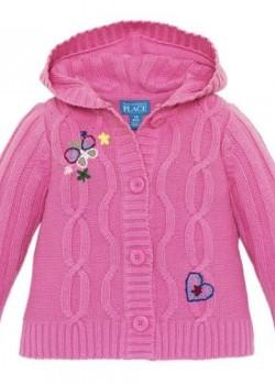 Розовая детская кофточка с капюшоном для девочки